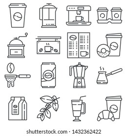 Line Coffee, Coffee Shop icons set. Cup, teapot, beverage, cafe and more.