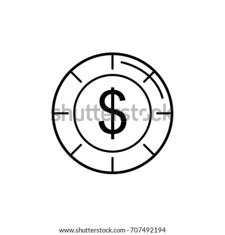 Line Coin Cash Money Financial Economy Stock Vector Royalty Free
