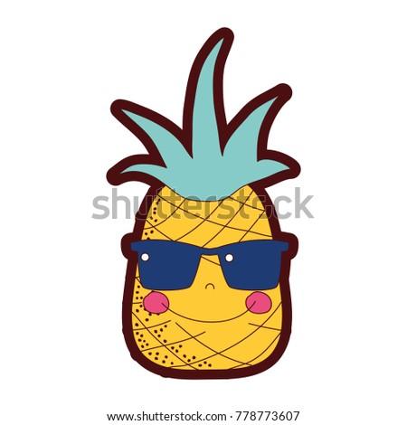 50% de réduction beauté acheter de nouveaux Line Color Happy Pineapple Fruit Sunglasses Image ...