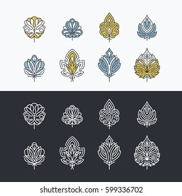 Line and color lacy abstract leaves, set of isolated symbols, icons