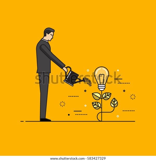 Line colorful vector illustration of a businessman watering light bulb, concept for creative innovative work, investing into ideas, growing business, innovation isolated on bright background