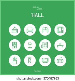 Line colorfuul icons set of hall and Home room