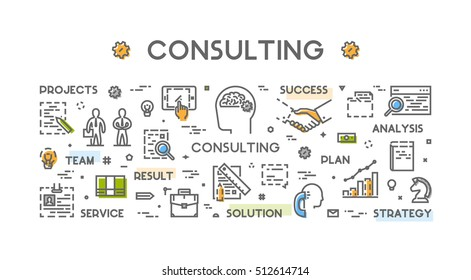 Line Concept Consulting Vector Linear Symbol Stock Vector Royalty