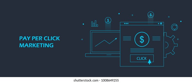 Line concept of pay per click marketing, PPC marketing, advertising flat vector banner illustration on dark background