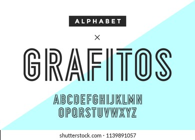 Line condensed alphabet and font. Double line uppercase outline letters. Type, typography letter line font. Hand-drawn modern narrow sans serif line font for headline. Vector Illustration