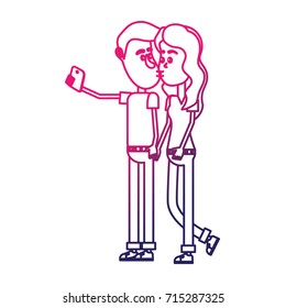 line couple kissing and taking selfie with smartphone