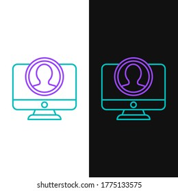 Line Create account screen icon isolated on white and black background. Colorful outline concept. Vector
