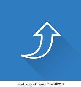 Line Curvy Up Arrow Icon
