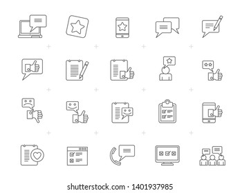 Line Customer, Management and Feedback Icons - vector icon set