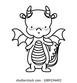 line cute dragon animal with horns and wings