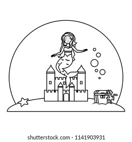line cute mermaid under water with castle and coffer