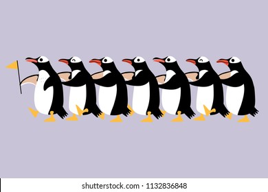 Line of cute penguin. Animal wildlife cartoon character.