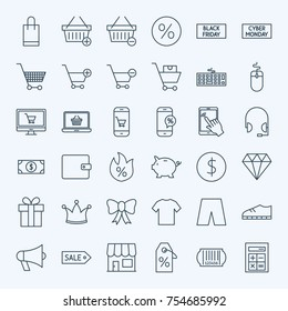 Line Cyber Monday Icons. Vector Set of Outline Black Friday Sale Symbols.
