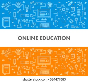 Line design concept web banner for online education and e-learning.