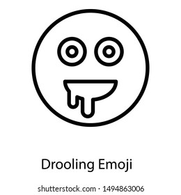 Line design of drooling face emoji icon.