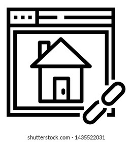 Line design of home page hyperlink icon