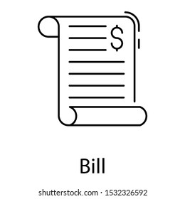 Line design icon of bill, list of goods sent or provided, with a statement of the sum
