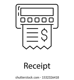 Line design icon of receipt, list of goods sent or provided, with a statement of the sum
