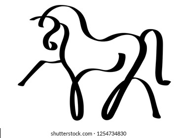 Line design template logotype of a horse.