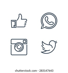Line designed vector icons of like, handset, camera and bird for social media, websites, interfaces. Like icon eps. Social media icons set.