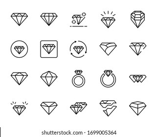 Line diamond icon set isolated on white background. Outline money symbols for website design, mobile application, ui. Collection of fashion pictogram. Vector illustration, editable strok. Eps10