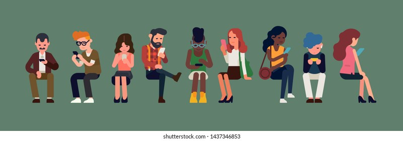 Line up of diverse sitting people using their phones. Technology, social media and texting addiction concept illustration with multiracial group of women and men using WiFi access or mobile internet