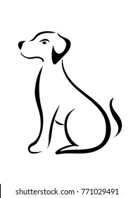 Line dog on white background. Animals