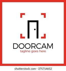 Line Door Photo Logo. Open photo studio.