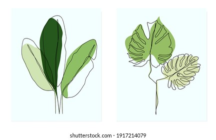 Line draft tropical leaves ,Abstract minimal art banana leaves with monstera leaves ,minimalist line pattern leaves