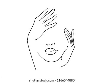 Line Drawing Art. Woman face with hand. Vector illustration. Concept for logo, card, banner, poster flyer