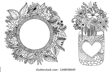 Line drawing of beautiful floral set for print on card,background, wall decoration and adult coloring page. Vector illustration