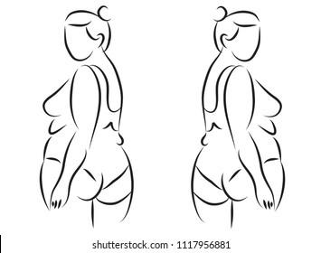line drawing of beautiful  women fat fitness yoga