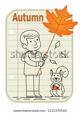 Line Drawing Boy Holding Sign Leaf Stock Vector Royalty Free