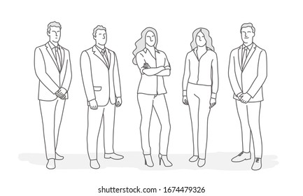 Line drawing of business people. Business concept.