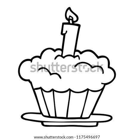 Line Drawing Cartoon Birthday Cake Stock Vector Royalty Free