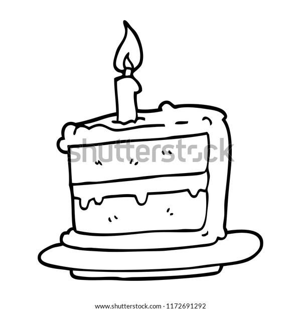 Outstanding Line Drawing Cartoon Birthday Cake Stock Vector Royalty Free Personalised Birthday Cards Vishlily Jamesorg