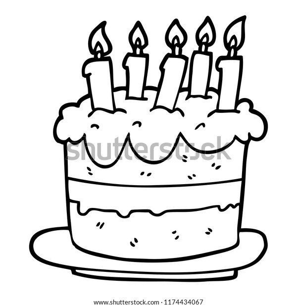 Awe Inspiring Line Drawing Cartoon Birthday Cake Stock Vector Royalty Free Funny Birthday Cards Online Alyptdamsfinfo