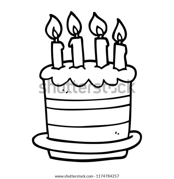 Enjoyable Line Drawing Cartoon Birthday Cake Stock Vector Royalty Free Personalised Birthday Cards Vishlily Jamesorg