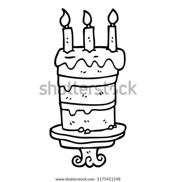 Astonishing Line Drawing Cartoon Birthday Cake Stock Vector Royalty Free Personalised Birthday Cards Vishlily Jamesorg