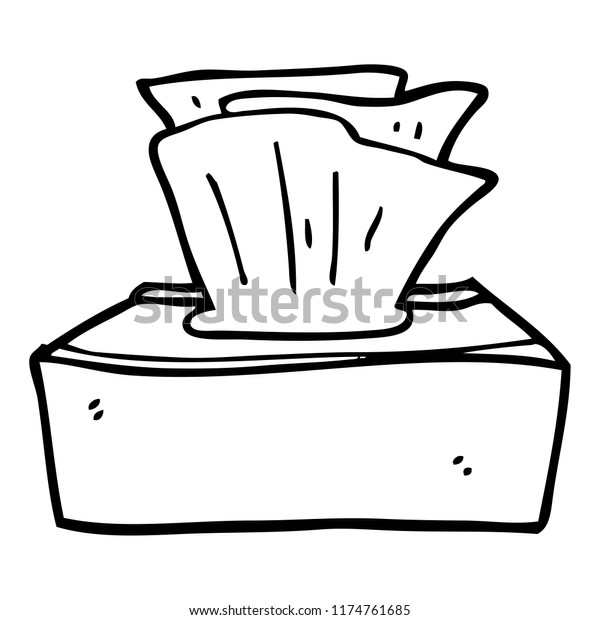 Line Drawing Cartoon Box Tissues Stock Vector Royalty Free 1174761685
