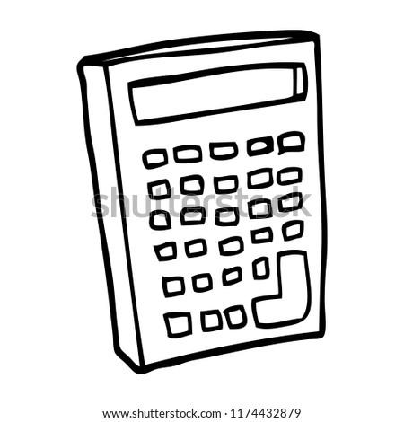 Line Drawing Cartoon Calculator Stock Vector Royalty Free