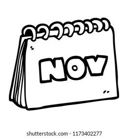 line drawing cartoon calendar showing month of november