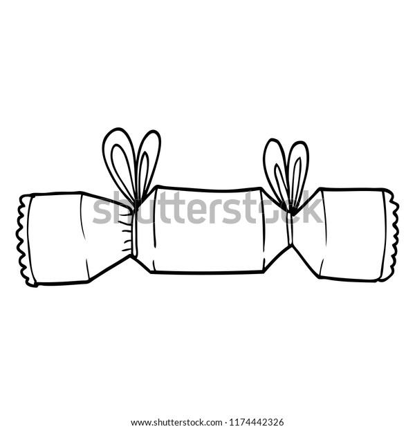 line drawing cartoon christmas cracker
