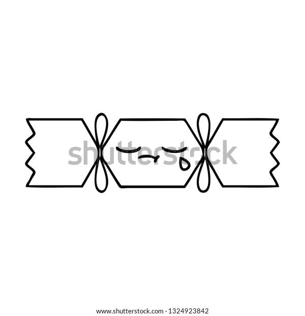 line drawing cartoon of a christmas cracker