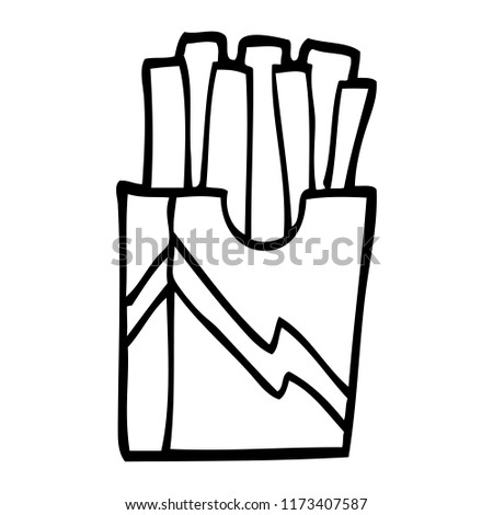 Line Drawing Cartoon Fast Food Fries Stock Vector Royalty Free