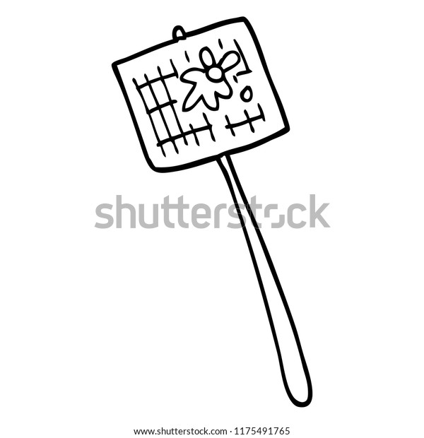 line drawing cartoon fly swatter