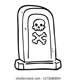 line drawing cartoon grave stone