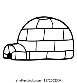 line drawing cartoon igloo