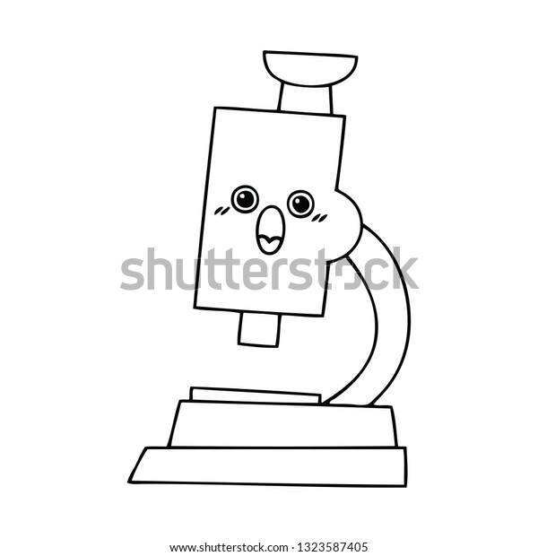 line drawing cartoon microscope stock vector royalty free 1323587405 shutterstock