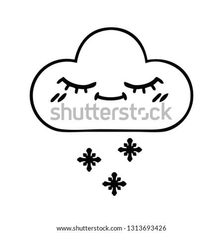 Line Drawing Cartoon Snow Cloud Stock Vector (Royalty Free ...